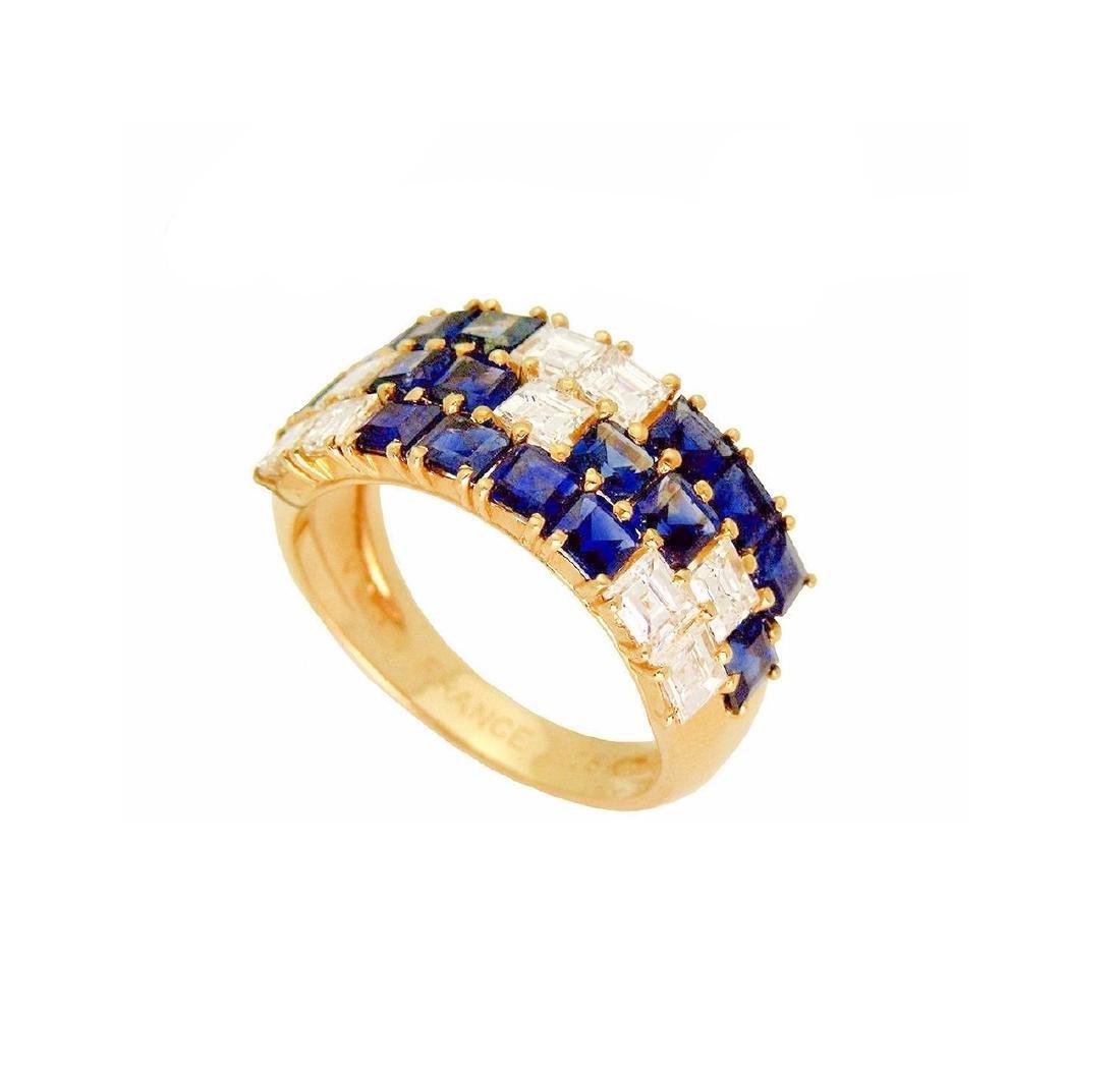 Van Cleef & Arpels 18K 2.5 TCW Diamond & Sapphire  Ring