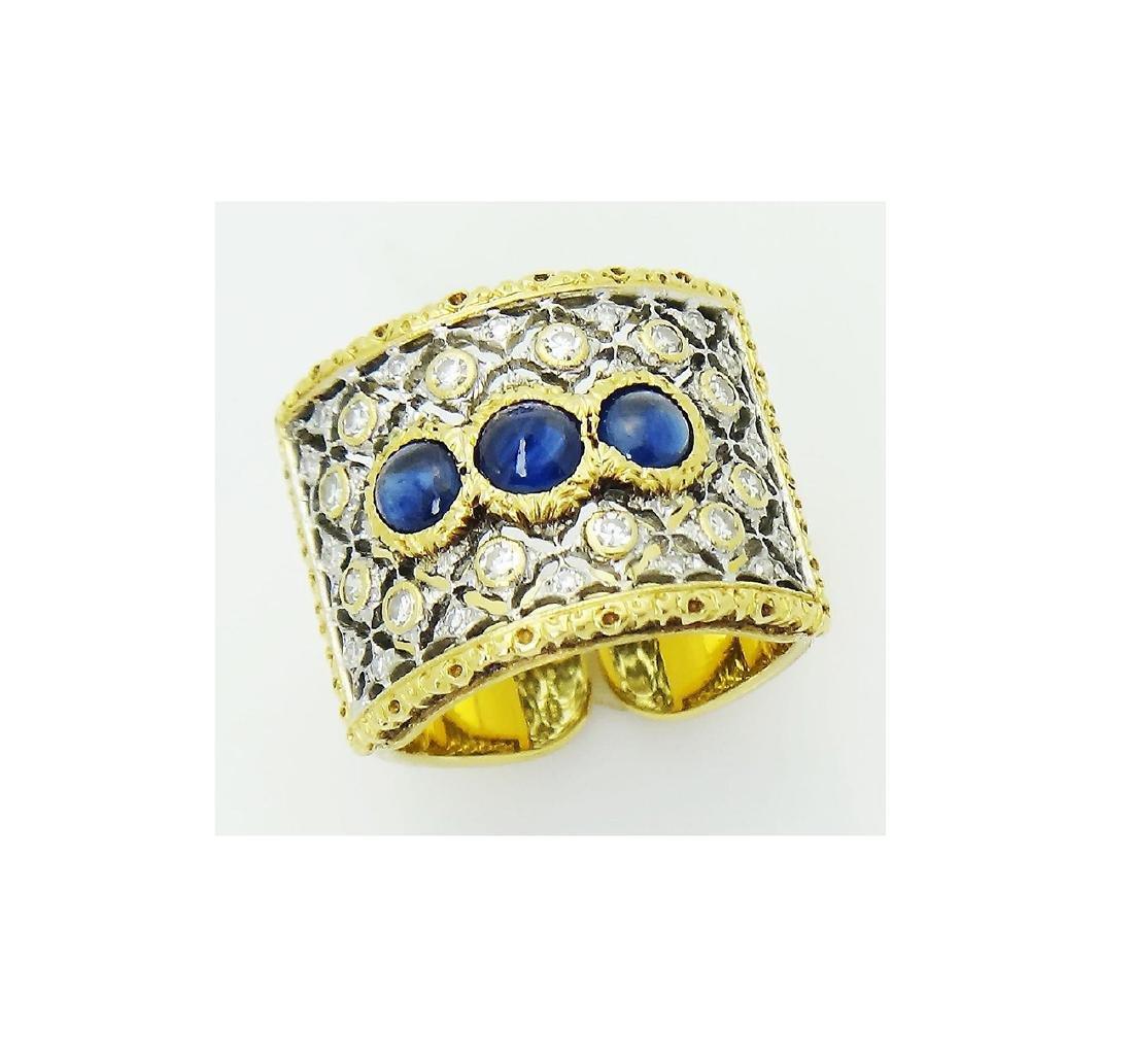 Buccellati 18k Gold 1.93CT Diamond 3 Sapphire Open Back