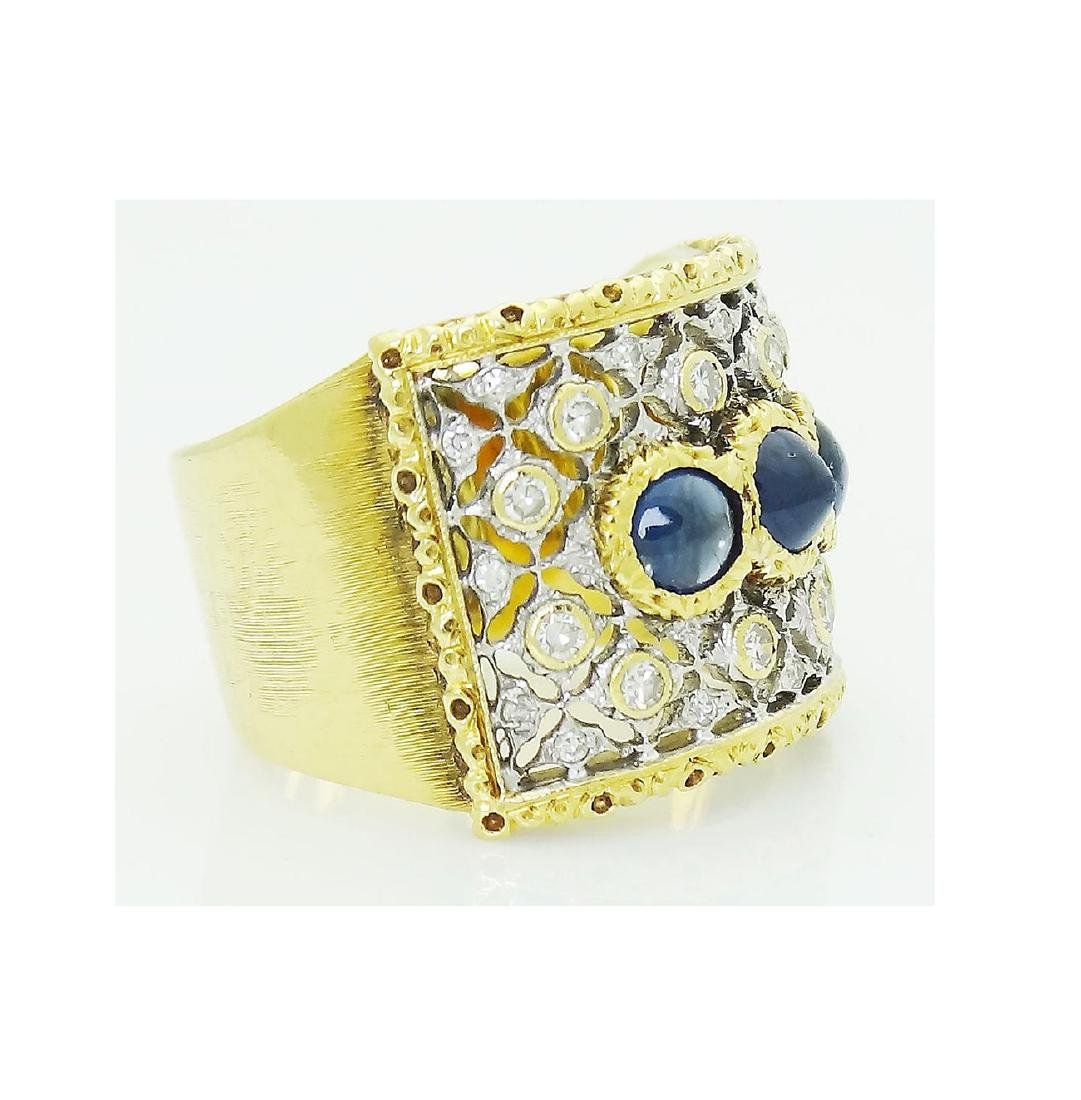 Buccellati 18k Gold 1.93CT Diamond 3 Sapphire Open Back - 2