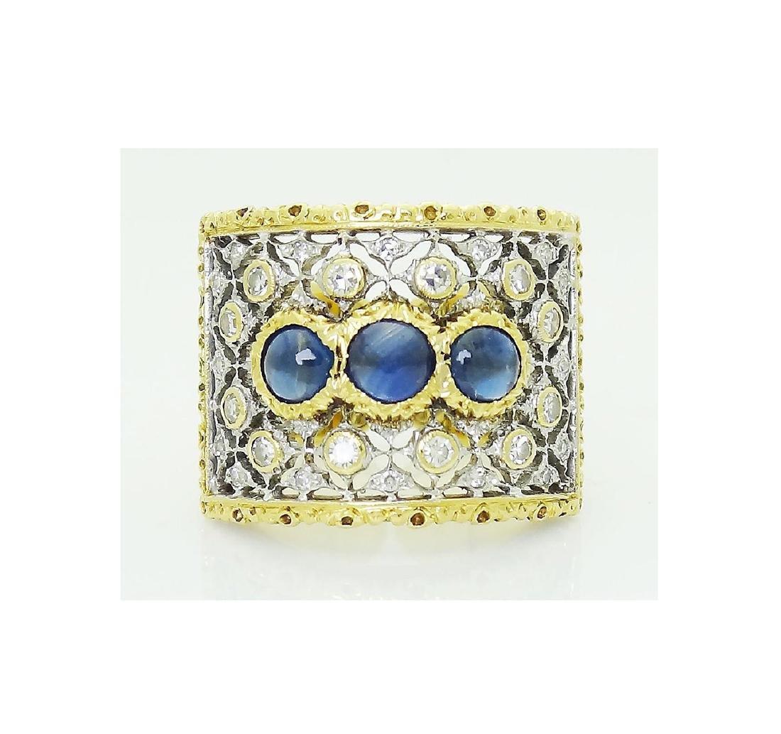 Buccellati 18k Gold 1.93CT Diamond 3 Sapphire Open Back - 3