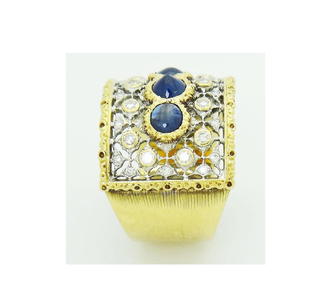 Buccellati 18k Gold 1.93CT Diamond 3 Sapphire Open Back - 4