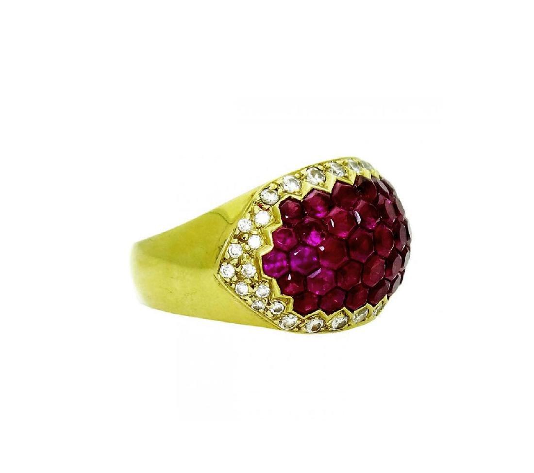 Stunning 18K Yellow Gold & Ruby Diamond Ring - 2