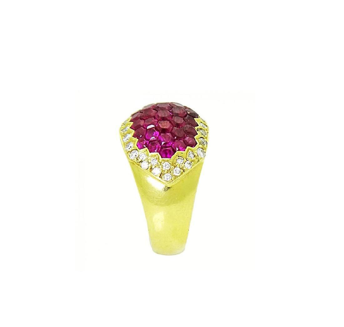 Stunning 18K Yellow Gold & Ruby Diamond Ring - 3