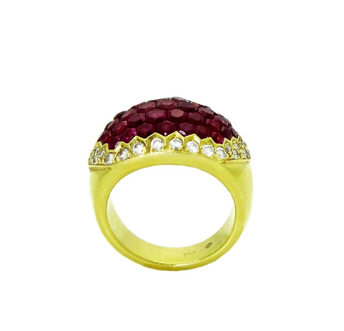Stunning 18K Yellow Gold & Ruby Diamond Ring - 4