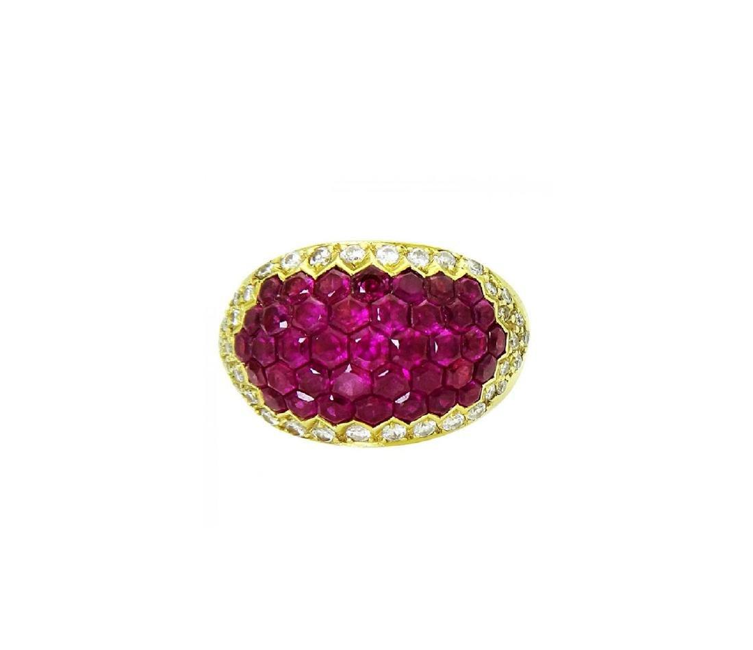 Stunning 18K Yellow Gold & Ruby Diamond Ring - 5