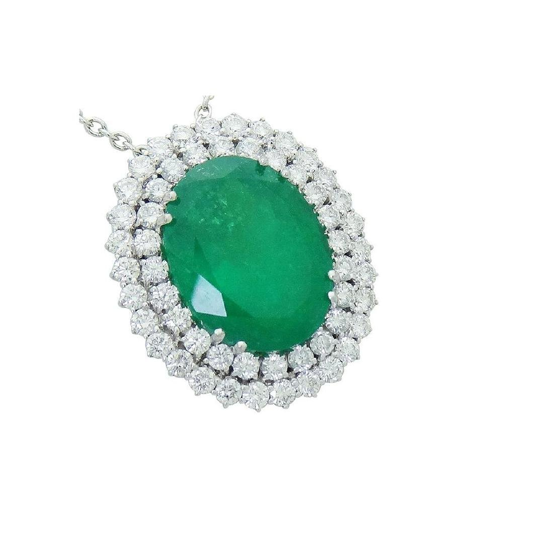 18K White Gold over 21 Ct Emerald and Diamond Necklace - 2