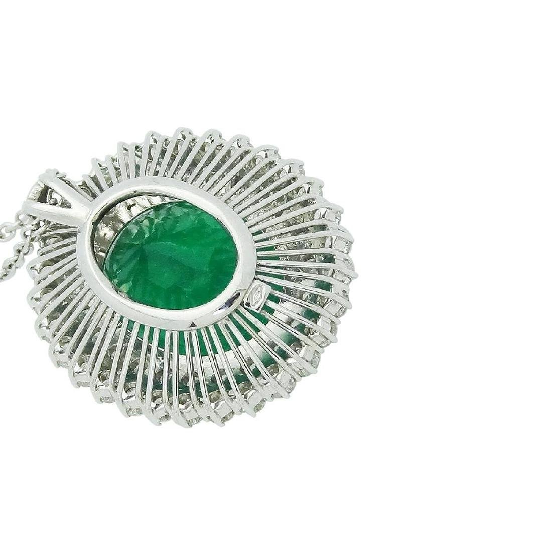 18K White Gold over 21 Ct Emerald and Diamond Necklace - 3