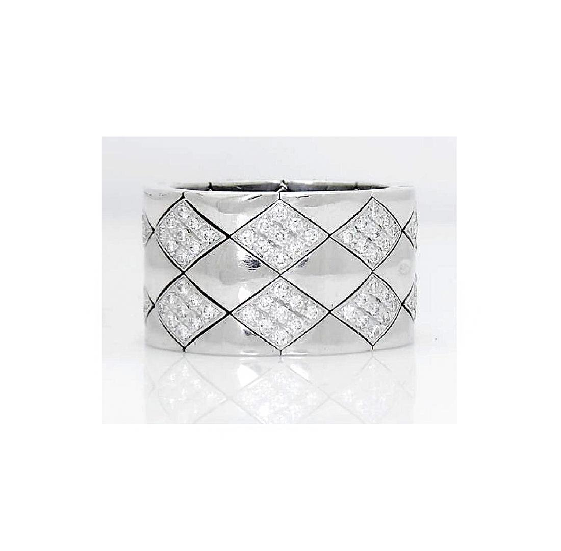 Chanel 18k White Gold & Diamond Wide Band Ring
