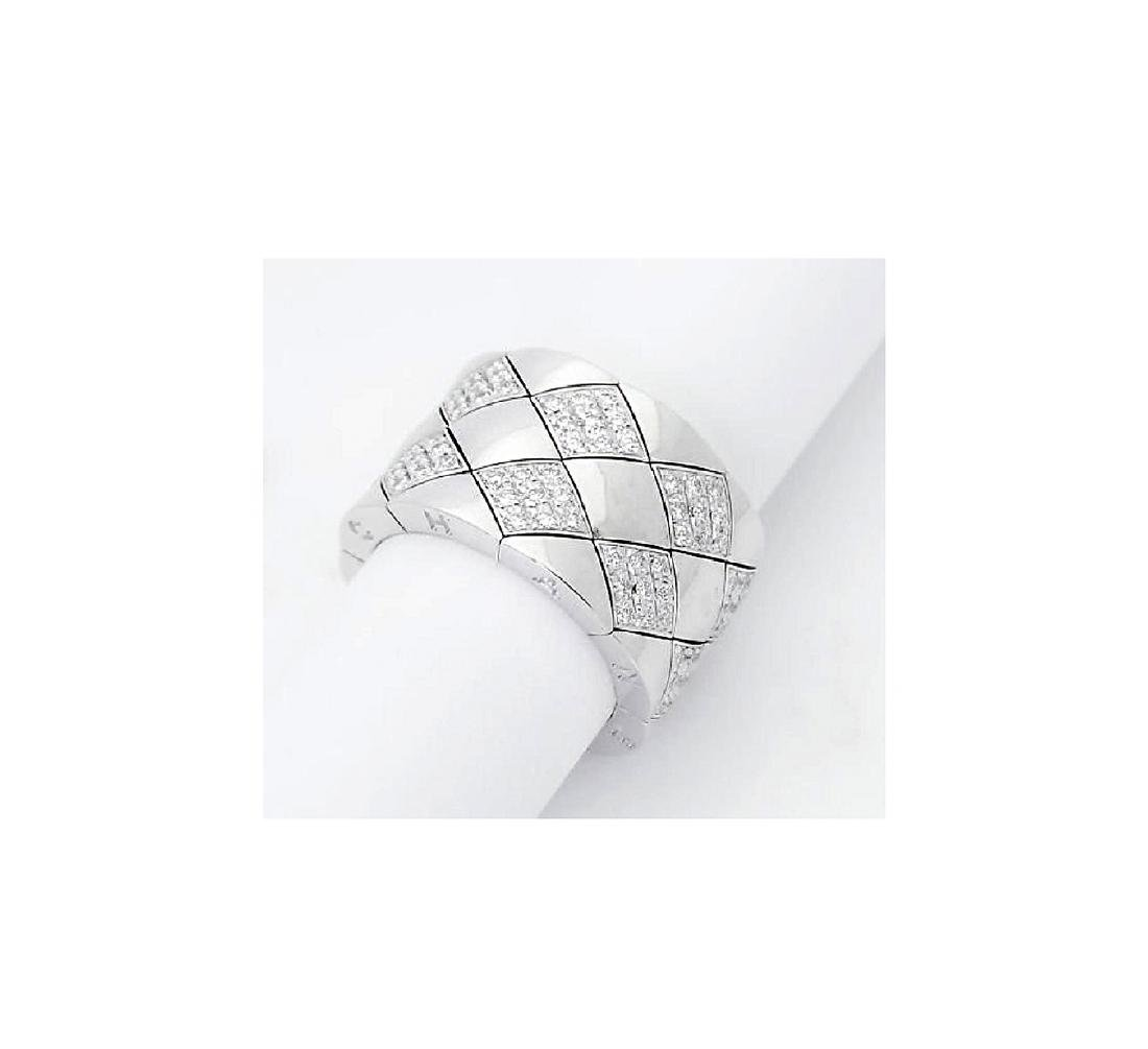 Chanel 18k White Gold & Diamond Wide Band Ring - 2
