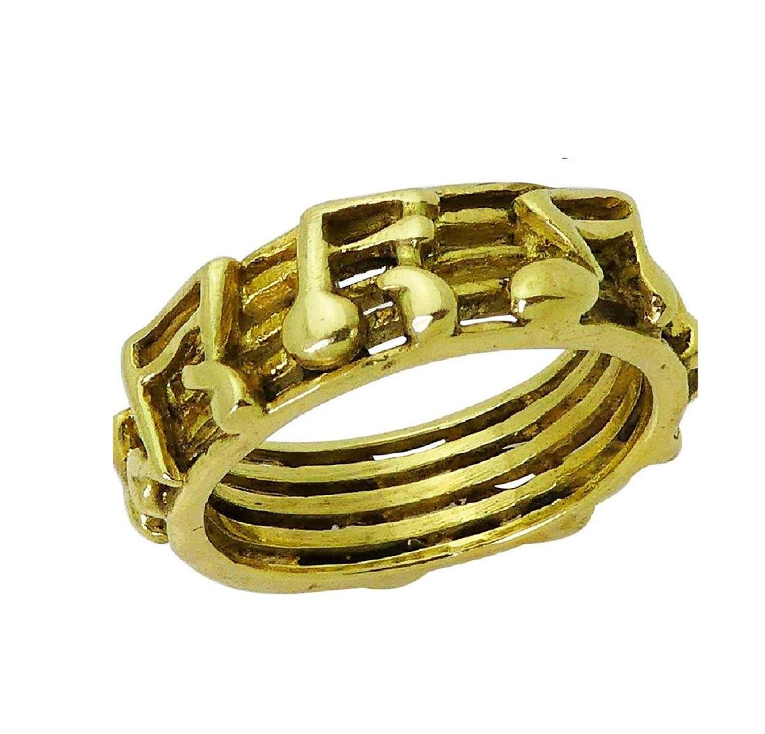 18k Yellow Gold Music Notes Band Ring Size 8