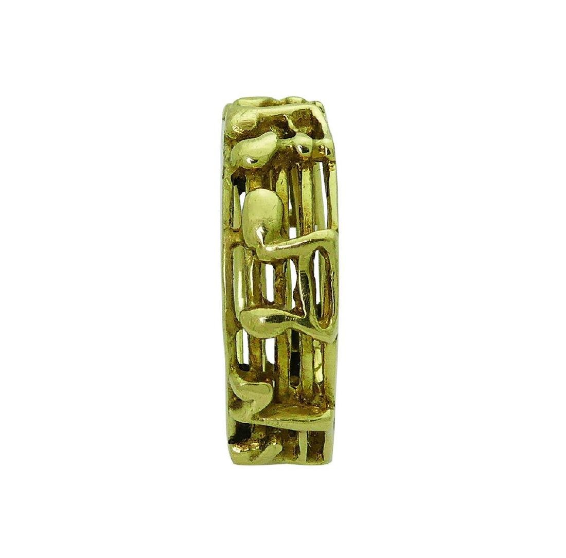 18k Yellow Gold Music Notes Band Ring Size 8 - 4