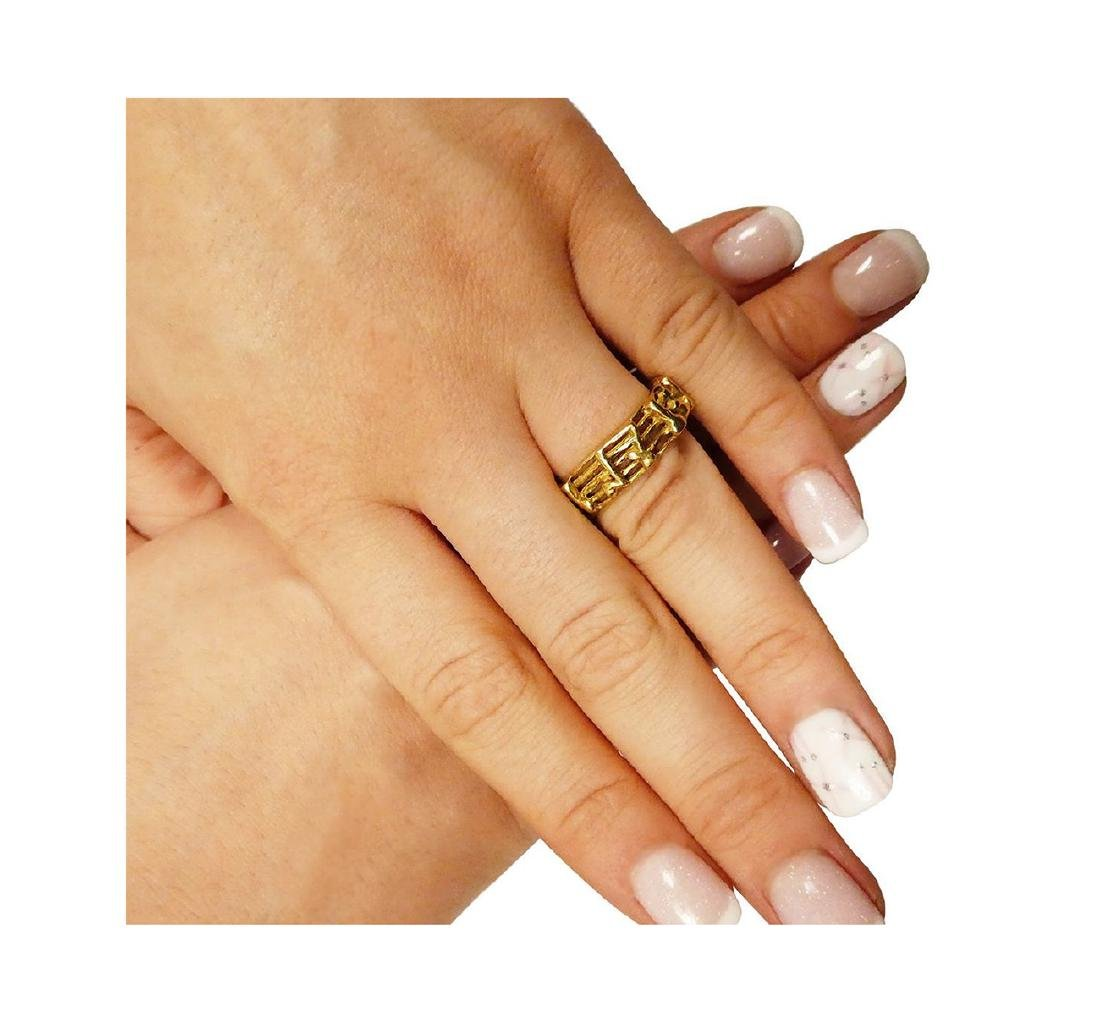 18k Yellow Gold Music Notes Band Ring Size 8 - 5