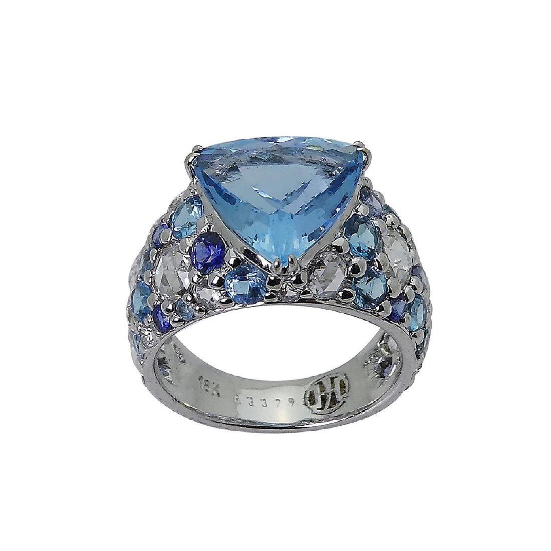 John Hardy 18k White Gold Diamond & Blue Topaz Ring - 2