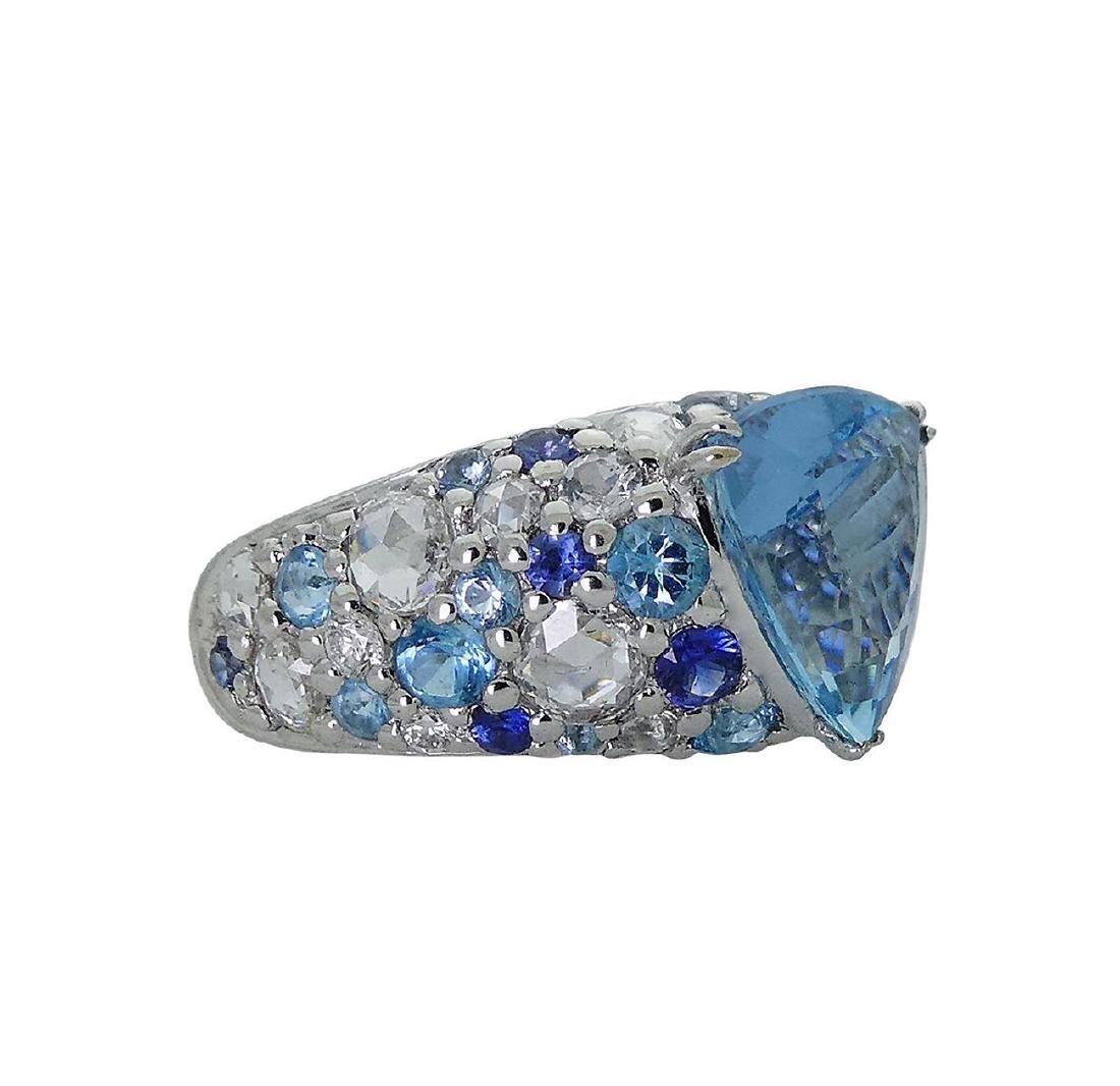 John Hardy 18k White Gold Diamond & Blue Topaz Ring - 3