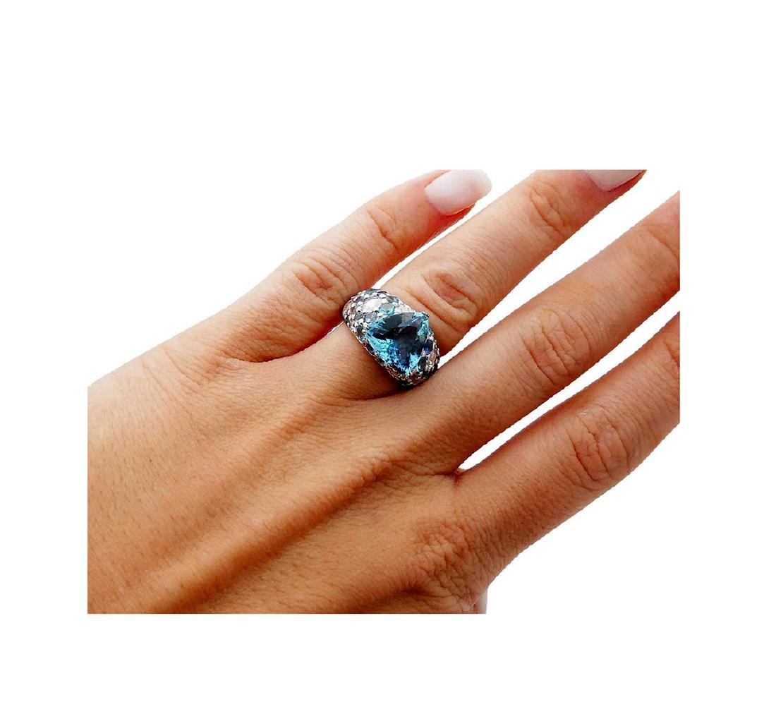 John Hardy 18k White Gold Diamond & Blue Topaz Ring - 4