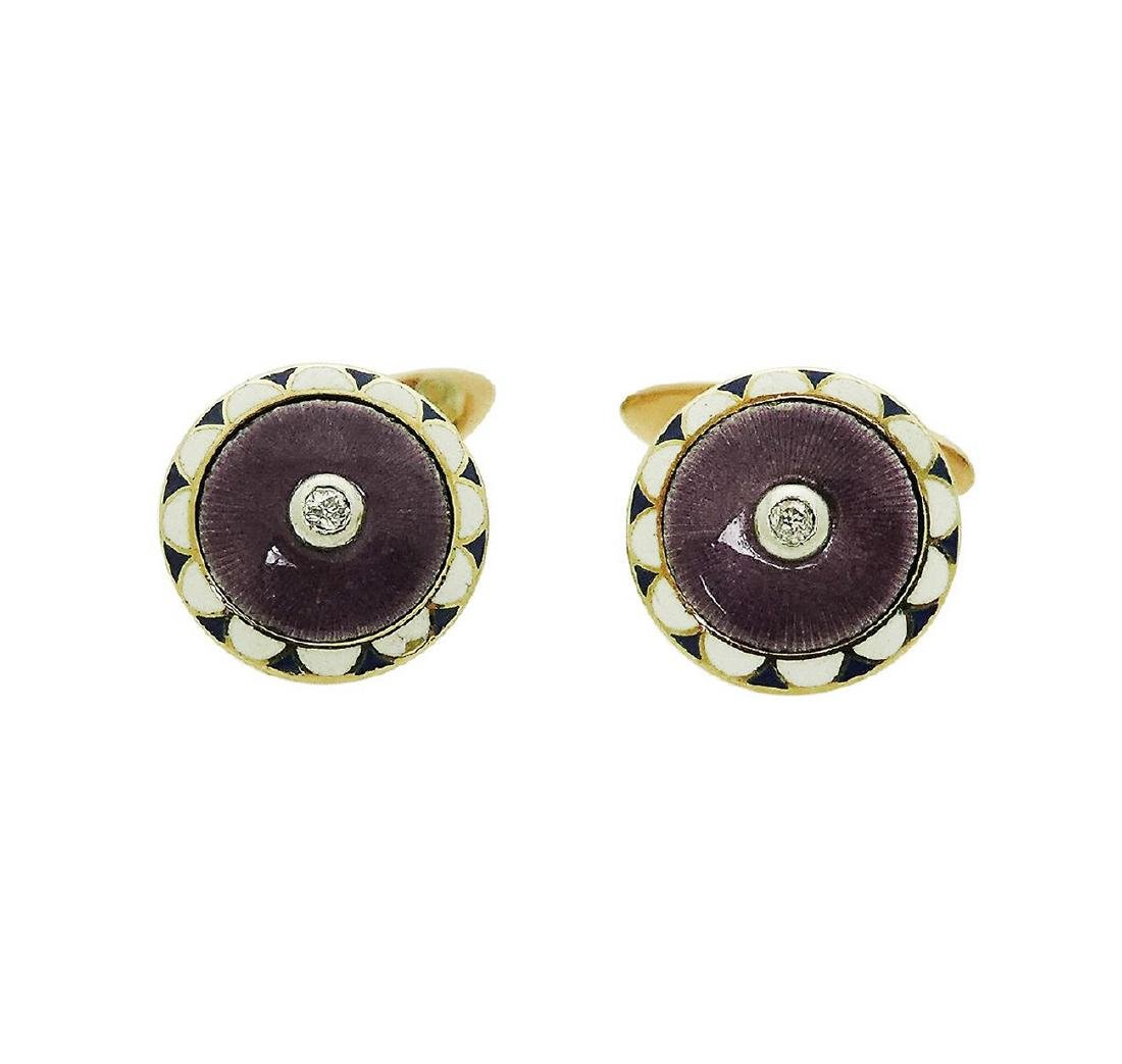 Estate 14K Enamel Cufflinks w/ Old Miner Cut Diamonds