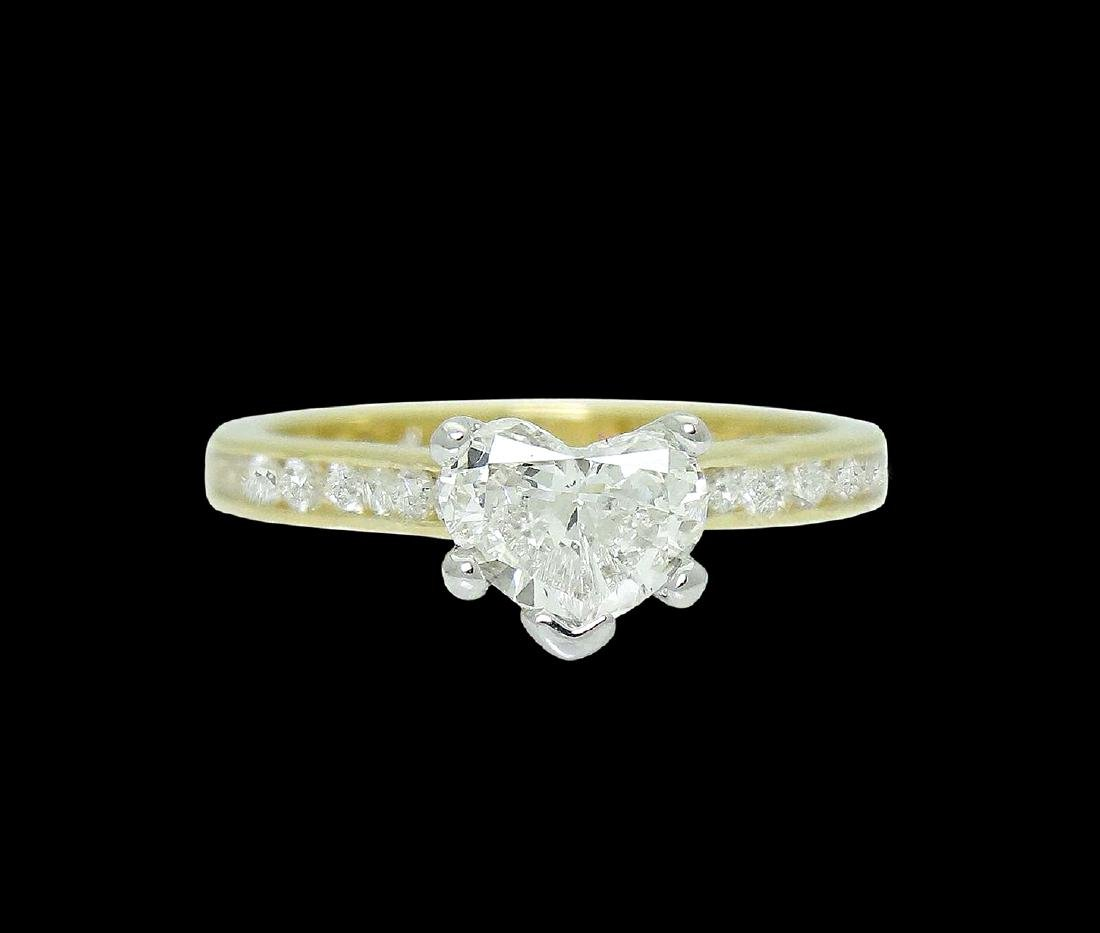 18k Gold & 1.75 TCW Diamond Engagement Ring with Heart