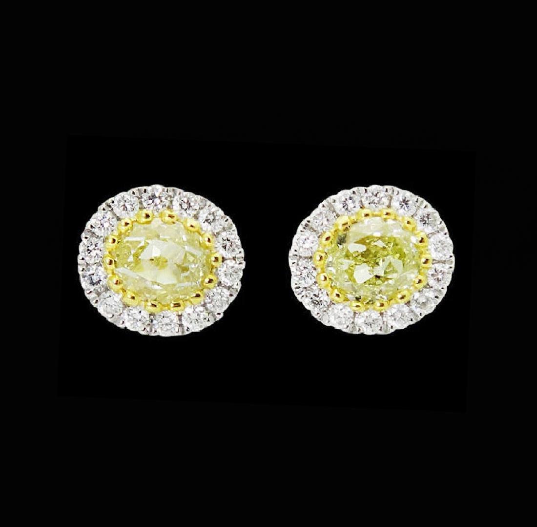 18k White Gold 1.11 TCW Fancy Yellow & White Diamond