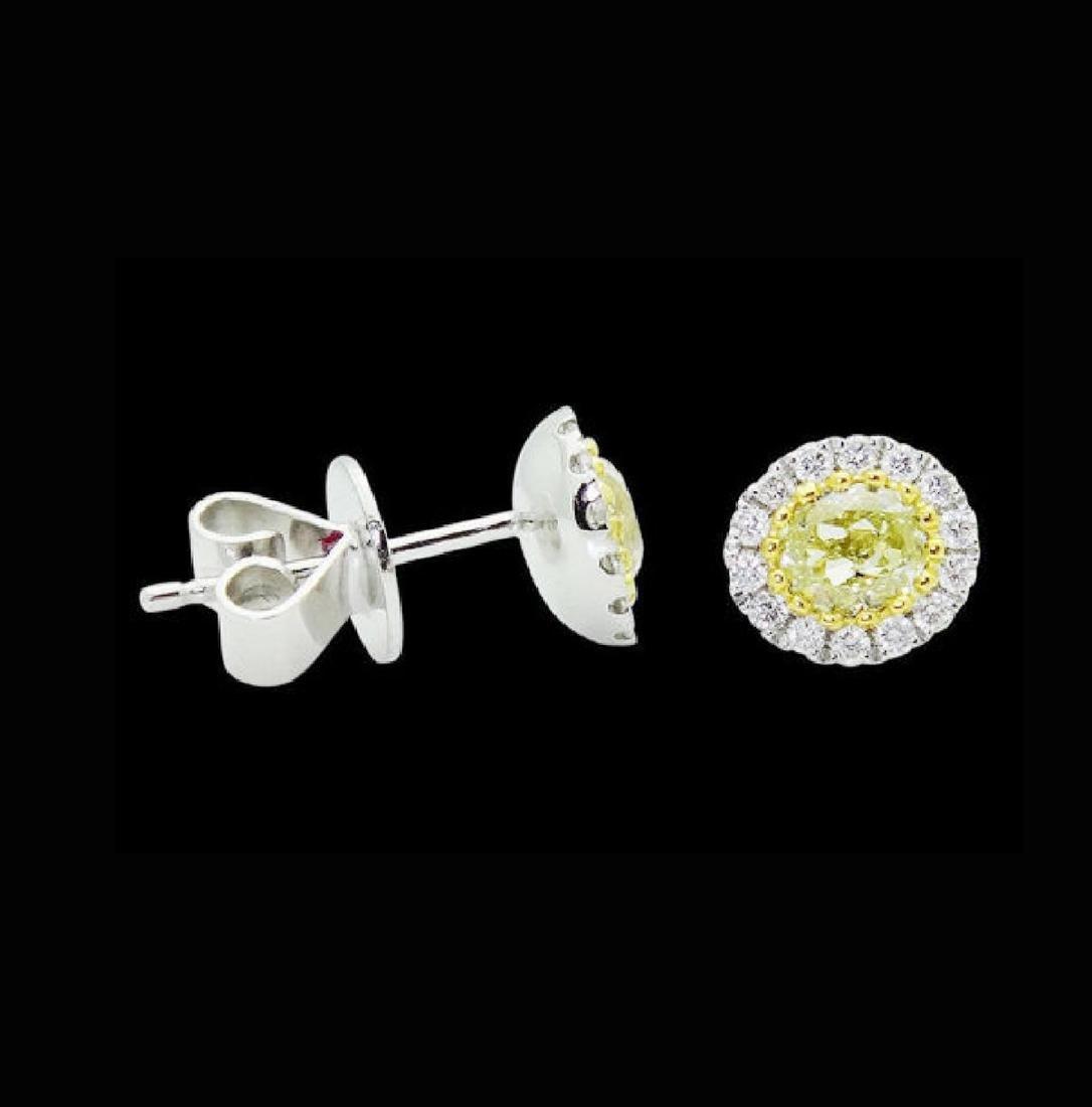 18k White Gold 1.11 TCW Fancy Yellow & White Diamond - 2