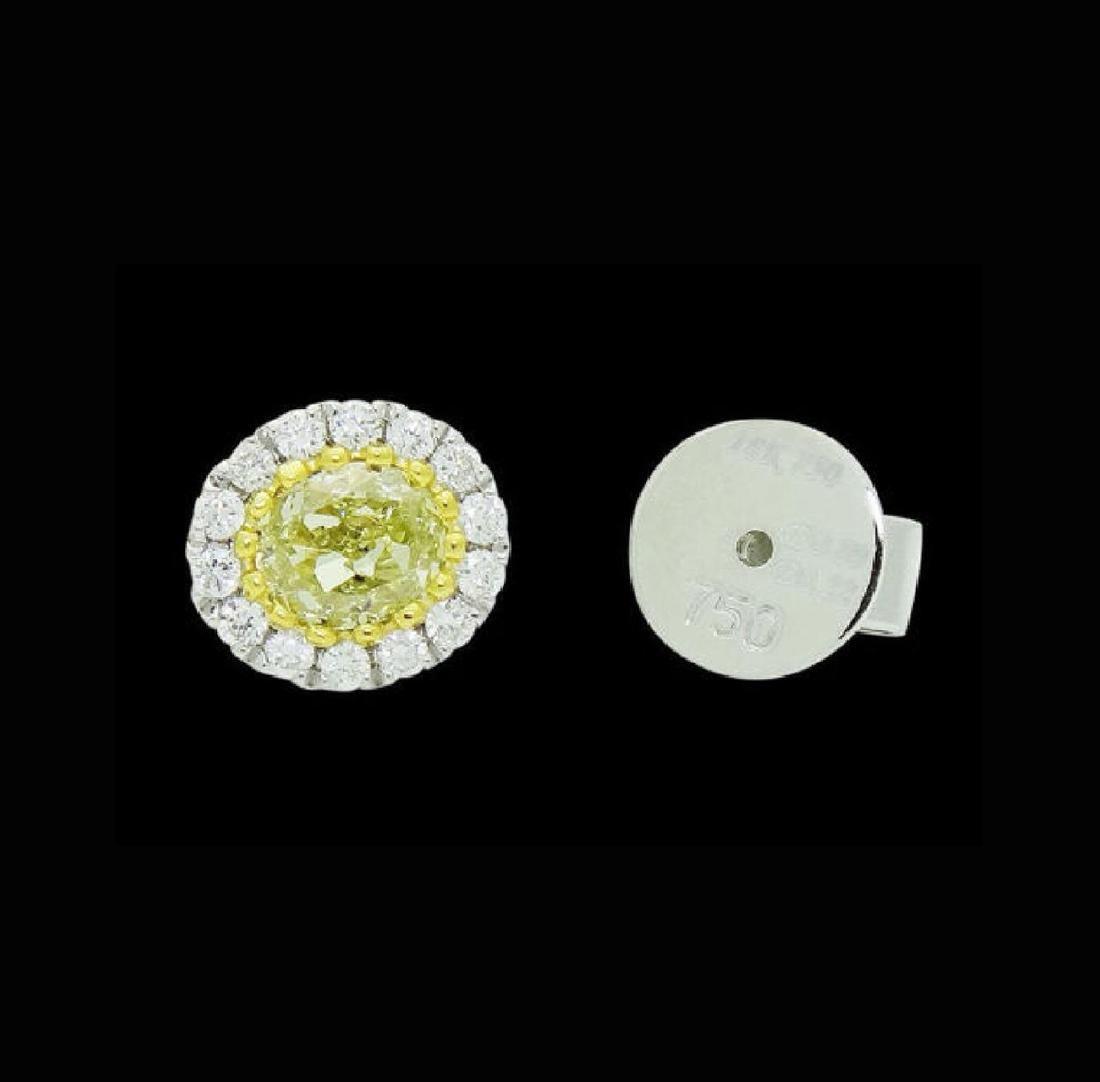 18k White Gold 1.11 TCW Fancy Yellow & White Diamond - 3