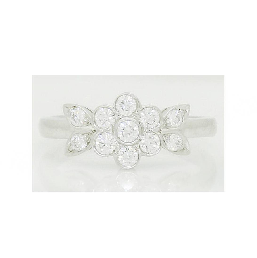 Tiffany & Co Blossom Collection Plat 950 Round Cut Ring