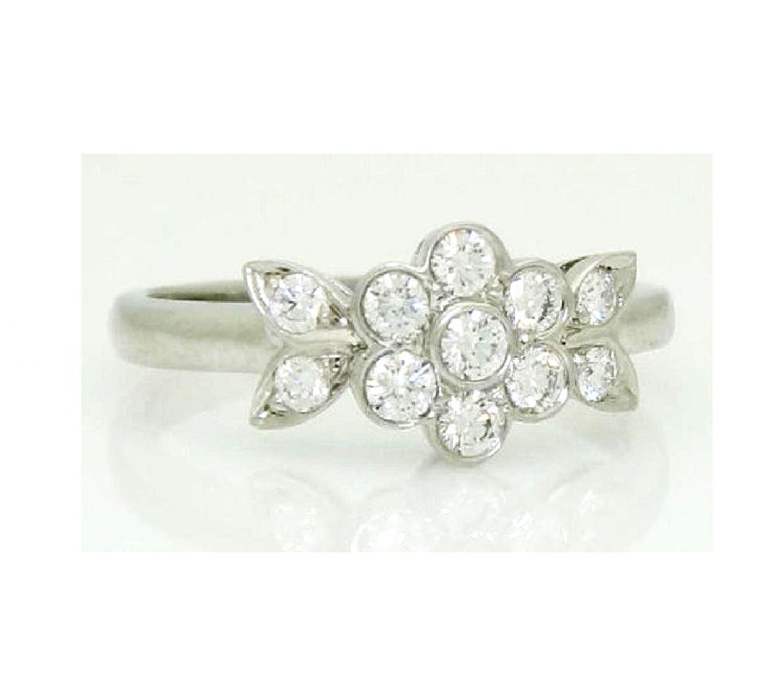 Tiffany & Co Blossom Collection Plat 950 Round Cut Ring - 5