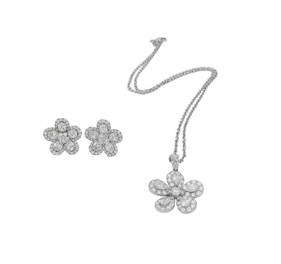 18k  8.00 TCW Brilliant Diamond Set Earring Necklace