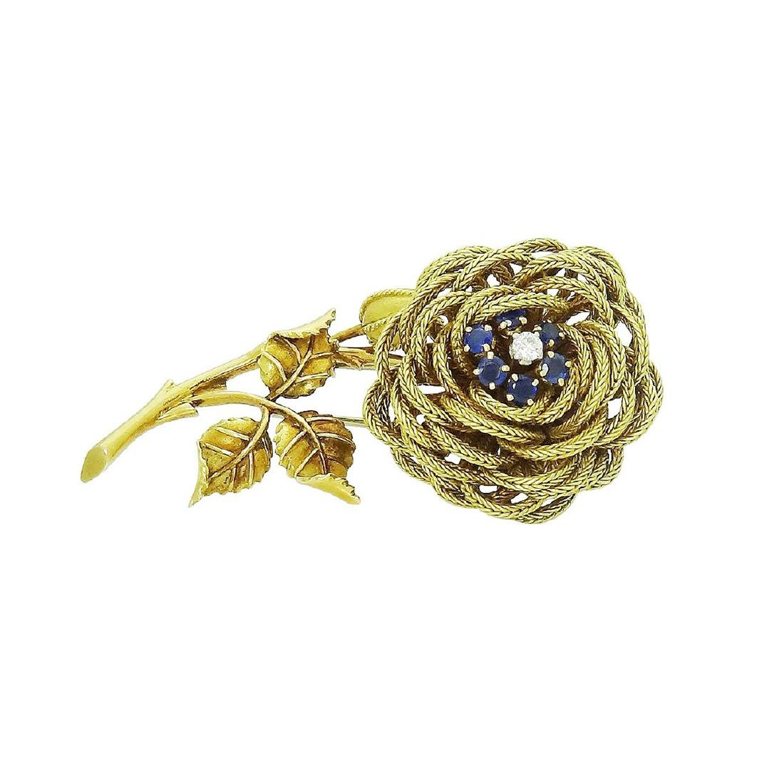 French 18K Yellow Gold Sapphire & Diamond Flower Brooch