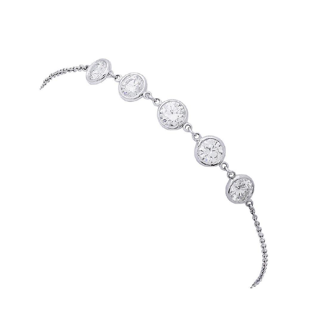 Tiffany & Co Elsa Peretti Plat Diamond By Yard Bracelet - 4