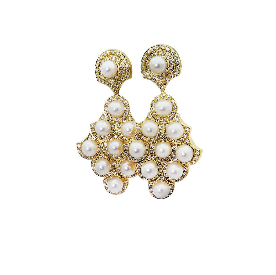 Bulgari 18k Gold 2.75 TCW Diamond & Pearl Dangle Clip