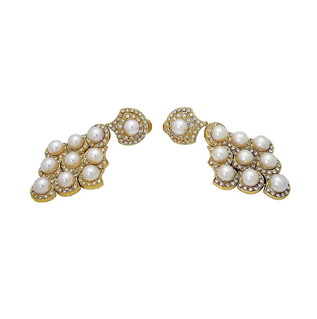 Bulgari 18k Gold 2.75 TCW Diamond & Pearl Dangle Clip - 2