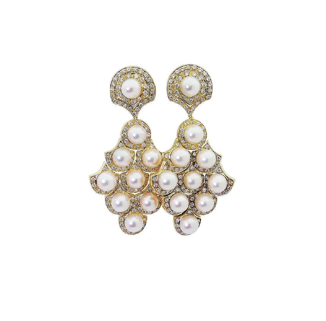 Bulgari 18k Gold 2.75 TCW Diamond & Pearl Dangle Clip - 5