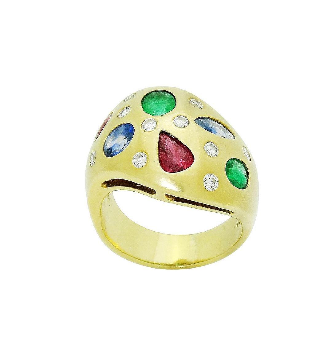18K Gold Diamond Emerald, Ruby & Sapphire Wide Band