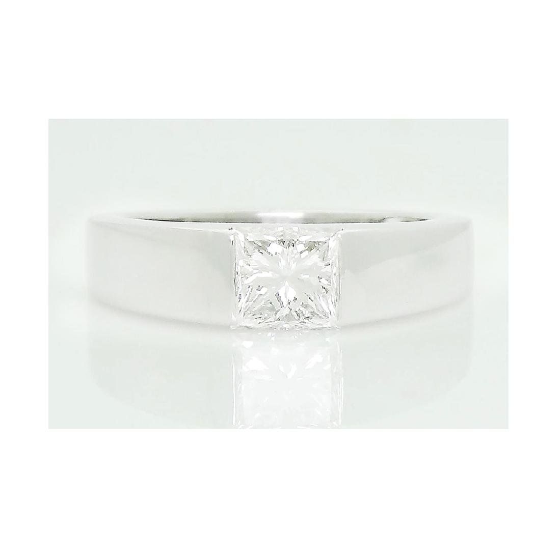 Cartier Platinum 0.90 TCW Princess Cut Diamond Ring