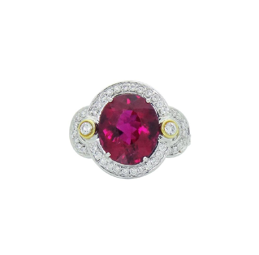 Spark 18K White Gold Diamond Tourmaline Ring Size 6.75