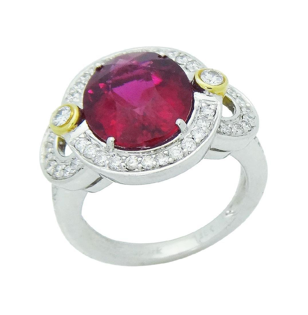 Spark 18K White Gold Diamond Tourmaline Ring Size 6.75 - 2