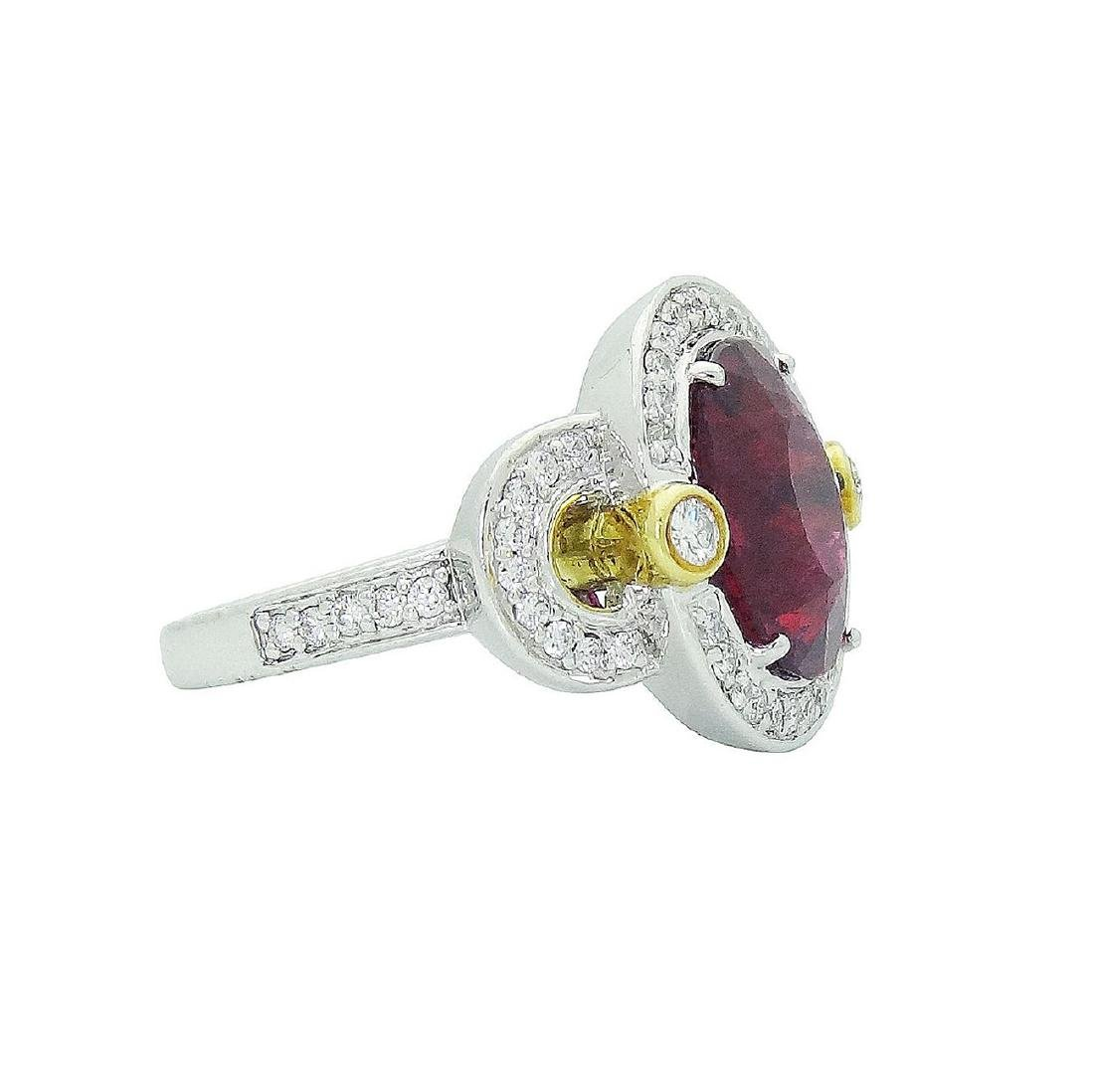 Spark 18K White Gold Diamond Tourmaline Ring Size 6.75 - 3