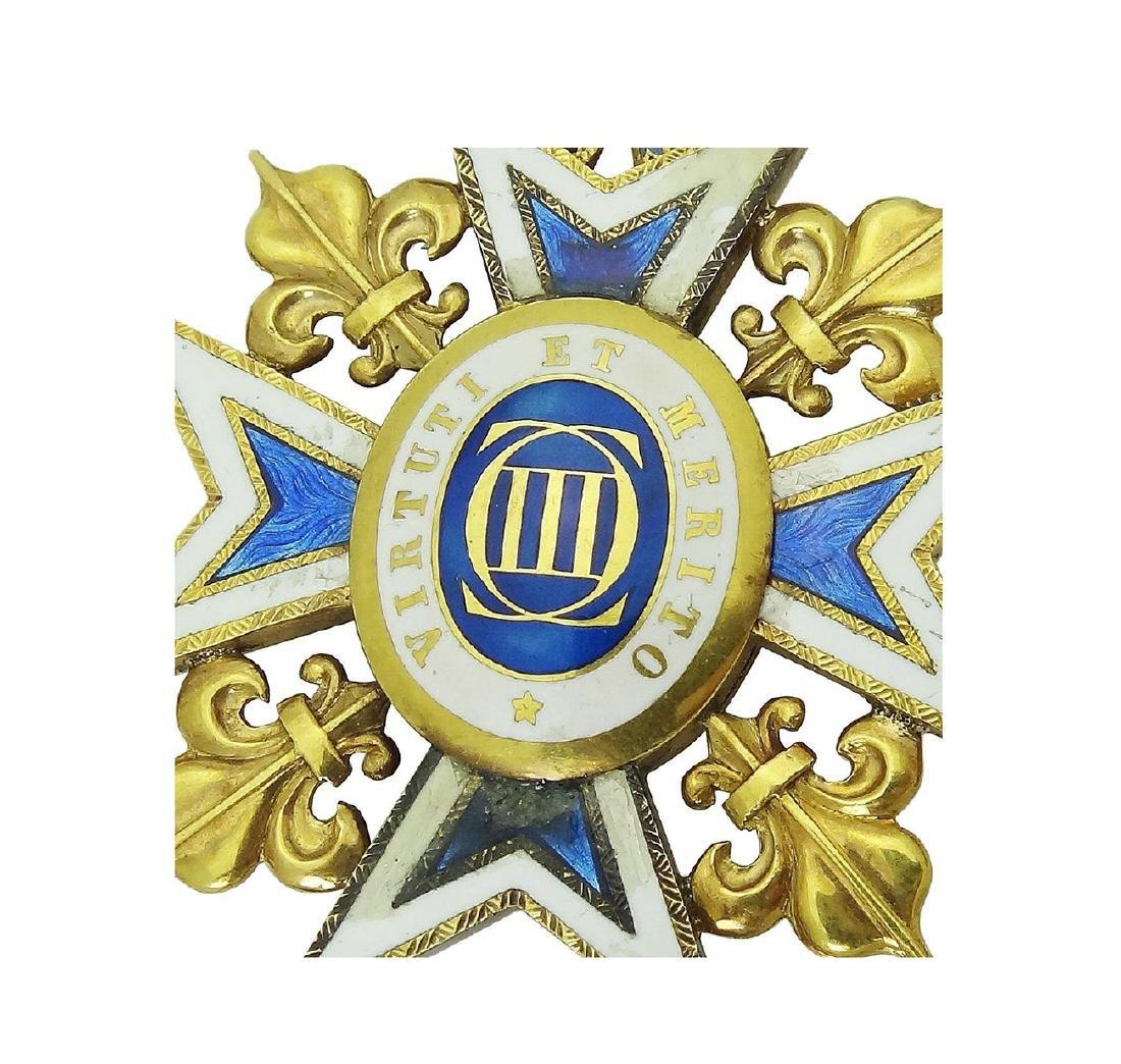 18K Yellow Gold Royal Spanish Order Cross Pendant - 2