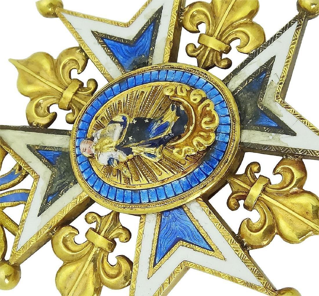 18K Yellow Gold Royal Spanish Order Cross Pendant - 3