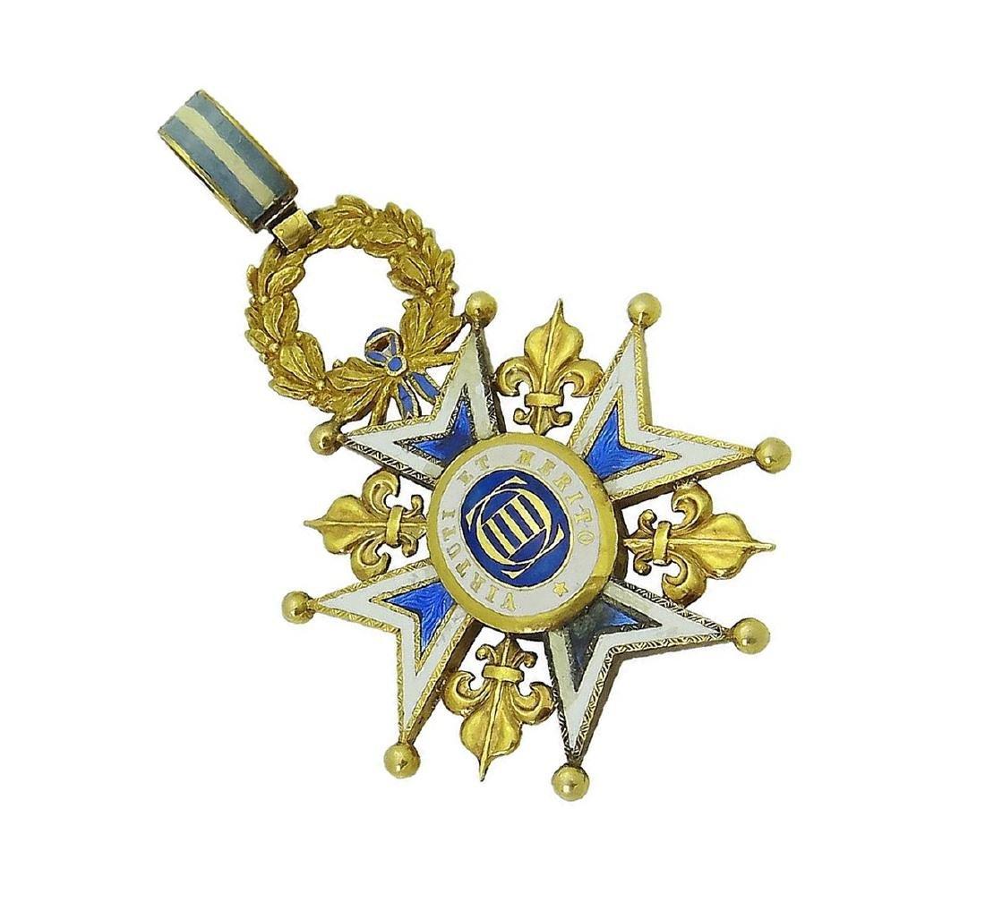 18K Yellow Gold Royal Spanish Order Cross Pendant - 4