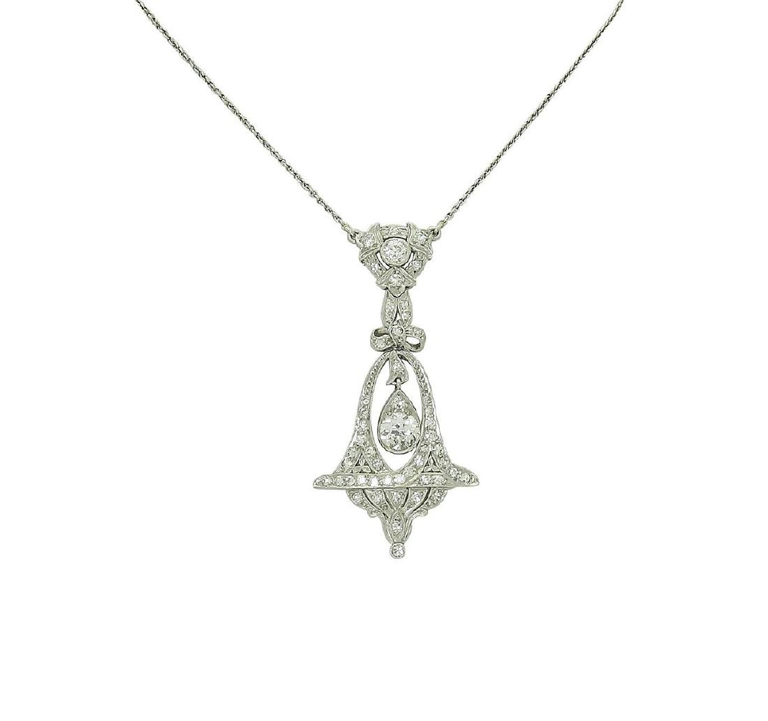 Antique Platinum VVS/VS Diamond Bow Bell Pendant