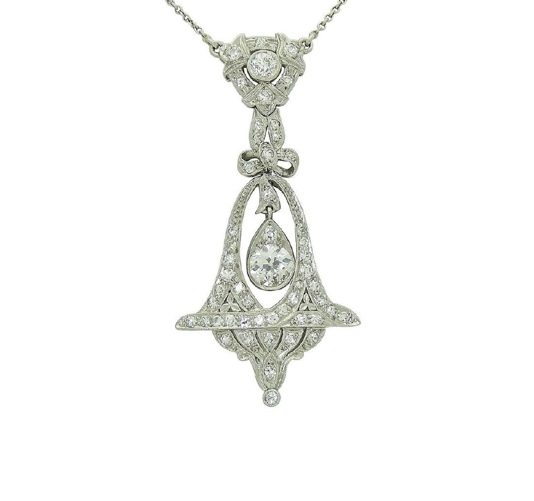 Antique Platinum VVS/VS Diamond Bow Bell Pendant - 5