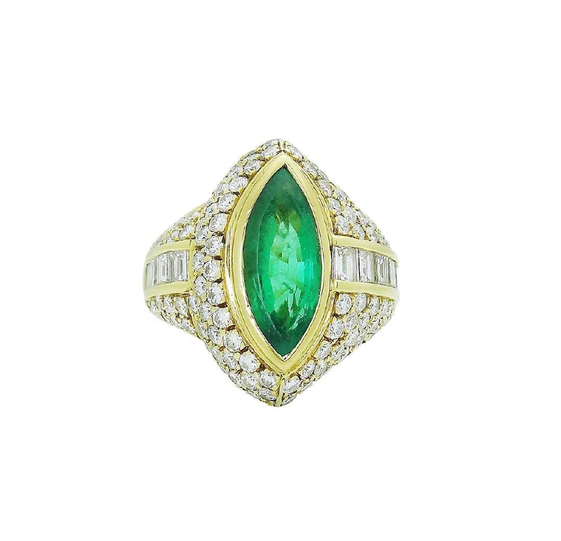 18K Yellow Gold Emerald Diamond Ring Size 7.25