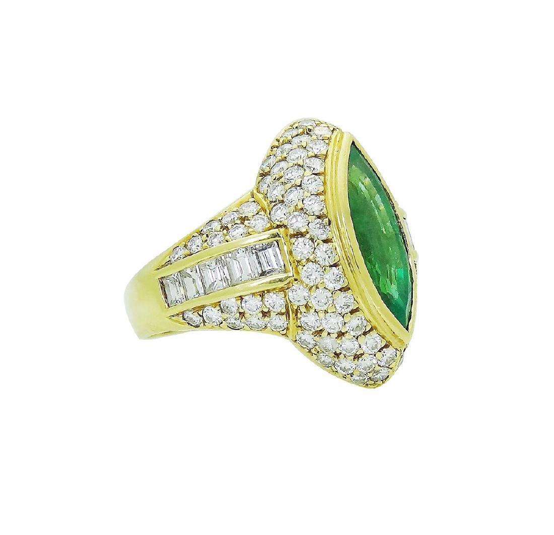 18K Yellow Gold Emerald Diamond Ring Size 7.25 - 2