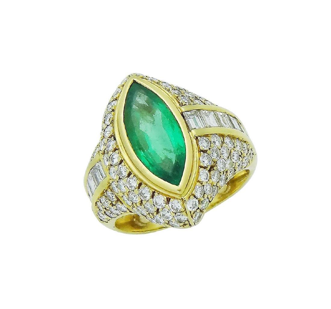18K Yellow Gold Emerald Diamond Ring Size 7.25 - 3
