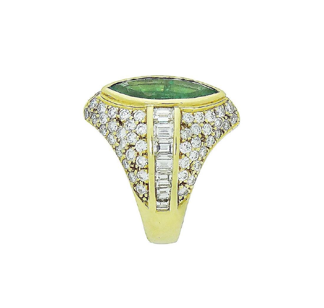18K Yellow Gold Emerald Diamond Ring Size 7.25 - 4