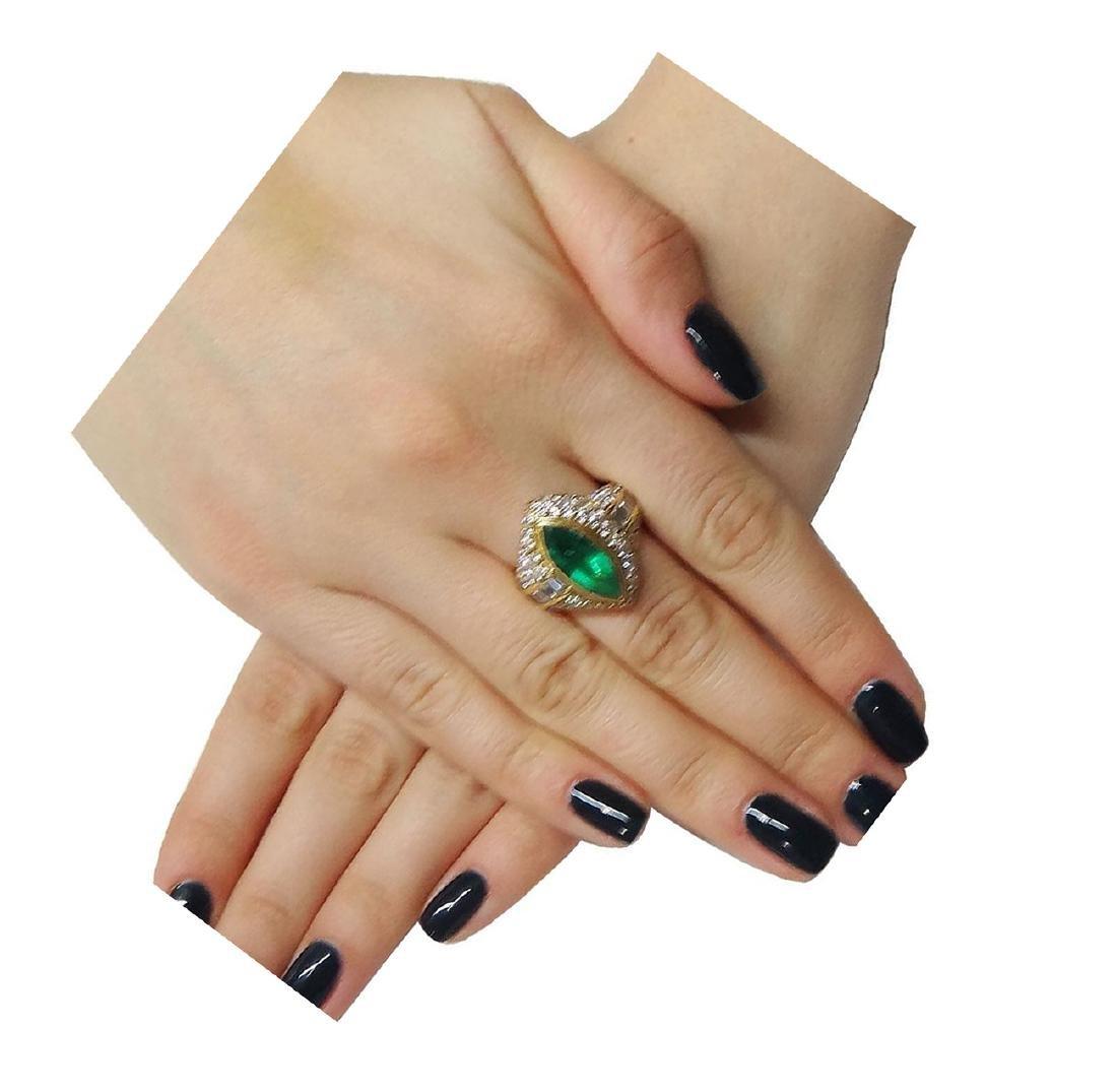 18K Yellow Gold Emerald Diamond Ring Size 7.25 - 5