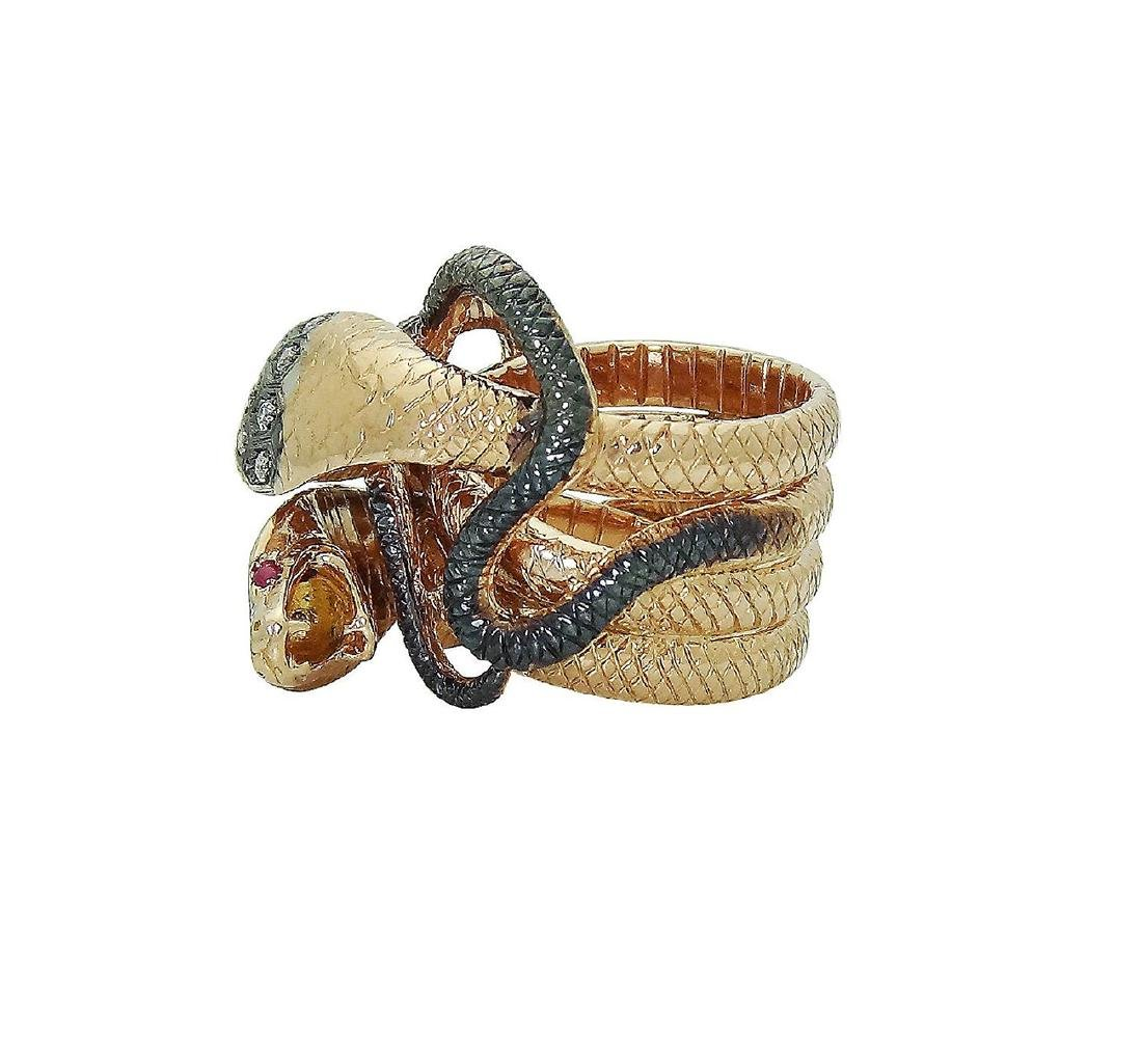 18K Rose Gold Diamond Ruby Double Snake Ring Size 6.5 - 5