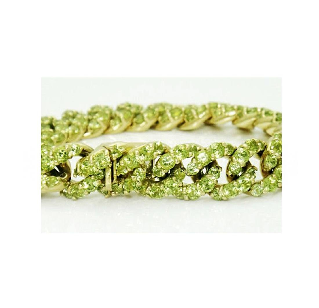 18k Gold 14.50 carats TCW Peridot Cuban Link Bracelet - 2
