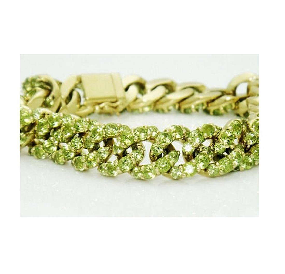 18k Gold 14.50 carats TCW Peridot Cuban Link Bracelet - 3